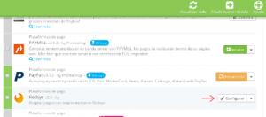 Click en configurar el módulo de Redsys en Prestashop