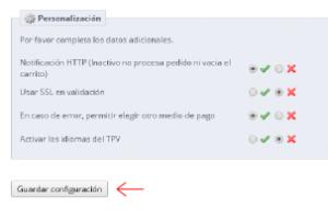 Guardar configuración en el módulo de Redsys para obtener la pasarela de pago seguro