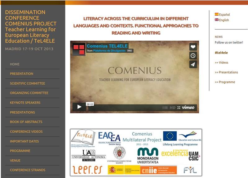 Página web de congreso, TELCON2013