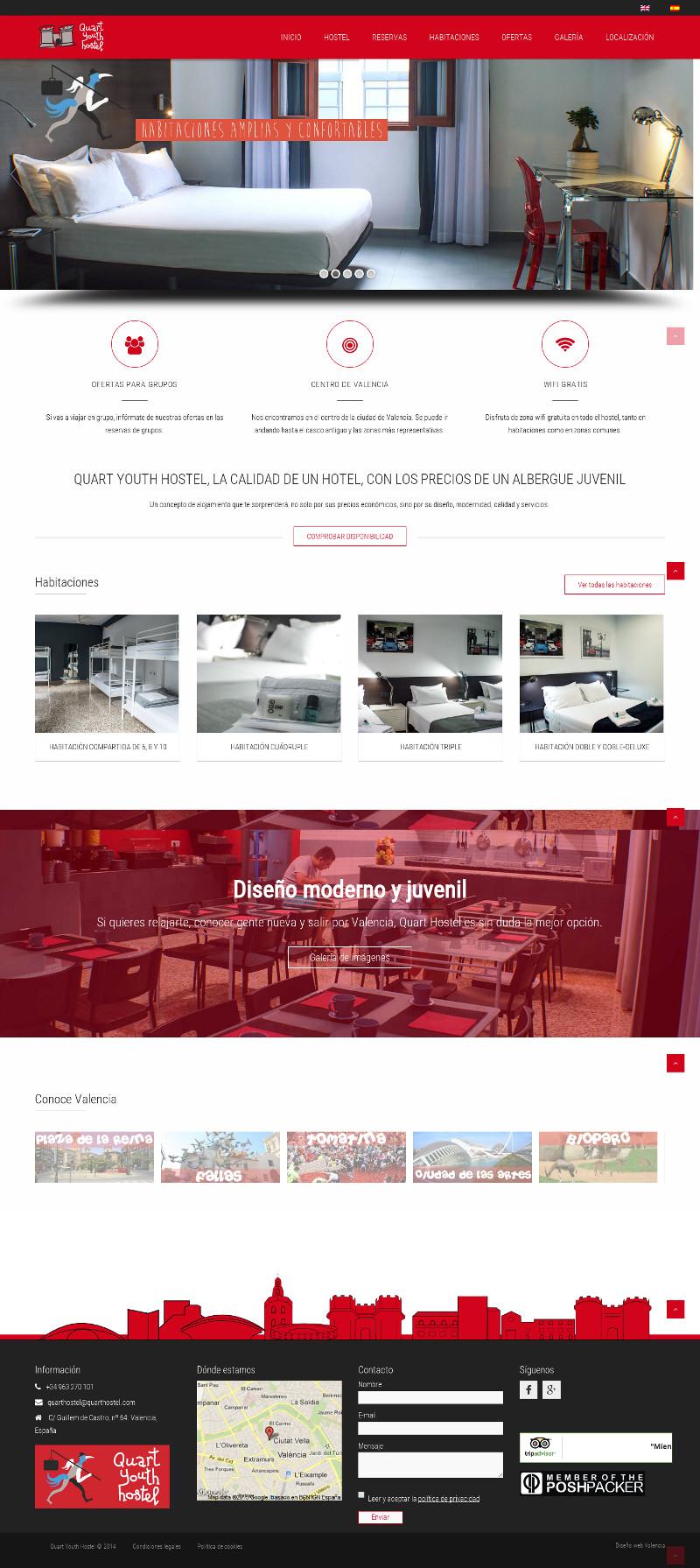 Diseño de página web para hostel