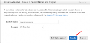 Pantalla crear un bucket en amazon