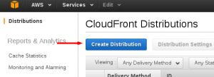 Opción crear distribución en Amazon Web Service
