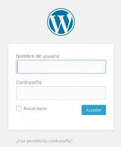Panel de acceso a WordPress