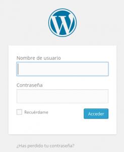 Panel de acceso a WordPress