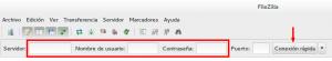 Insertar datos en filezilla para acceder por ftp