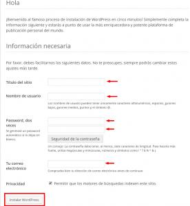 Pantalla para los datos de instalación de WordPress