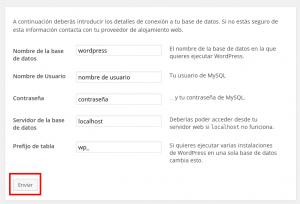 Pantalla para configurar la base de datos en la instalación de WordpPress