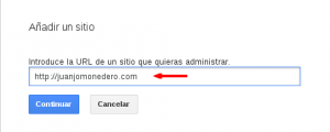 Añadir url a Webmaster tools