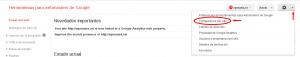 Configuración del sitio en Webmaster Tools
