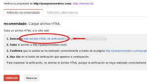 Descargar archvo .html de Google Webmater Tools