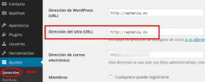 Dirección de nuestra url en WordPress