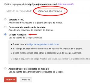 Metodo de verificación de Google Analytics