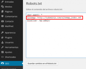 Editar archivo robots en WordPress SEO by Yoast