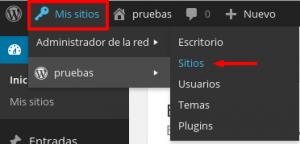 Pestaña sitios en el menú de WordPress Multisite