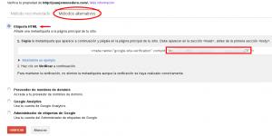 Verificación mediante metaetiqueta de Webmaster en plugin WordPress SEO by Yoast